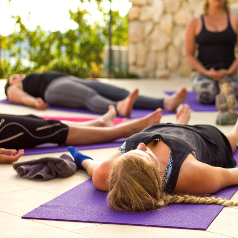 Private Dubrovnik yoga classes at swimming pool